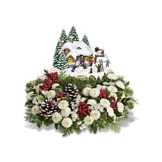 0 Thomas Kinkade's Snowballs & Smiles Centerpiece